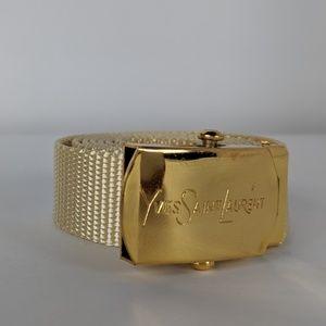 Yves Saint Laurent Canvas Fabric Belt Gold Buckle